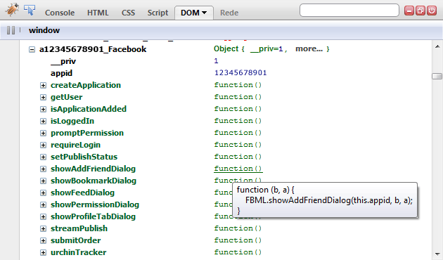 screenshot of Firebug  showing the 'Facebook object' on a facebook tabbed application